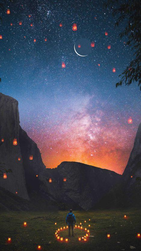 Sky lanterns Nature iPhone Wallpaper