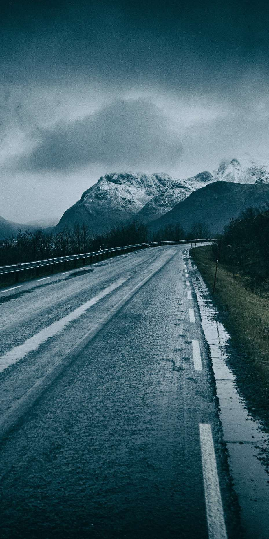 Snow Mountain and Wet Road iPhone Wallpaper