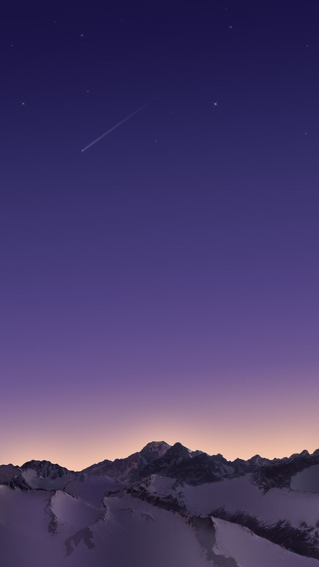 Snow Mountains Night Star Meteors iPhone Wallpaper