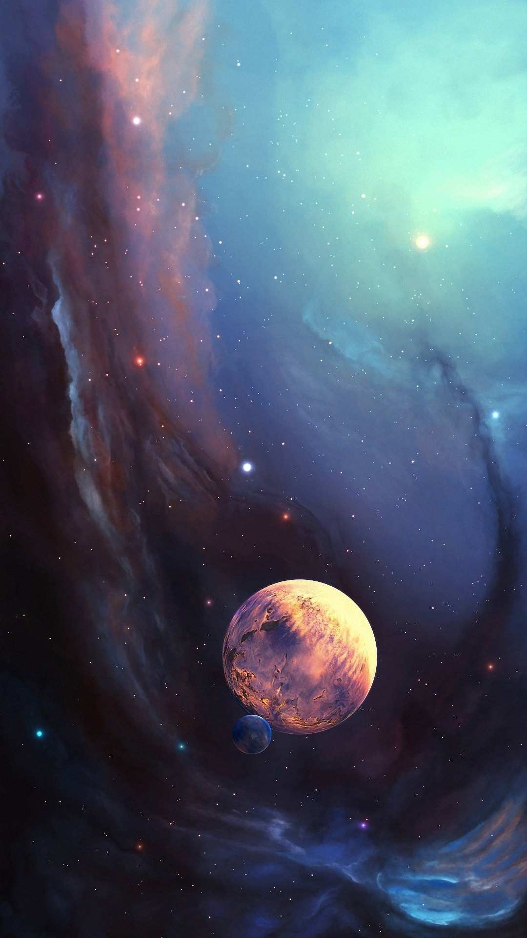 Space Planet and Moon iPhone Wallpaper