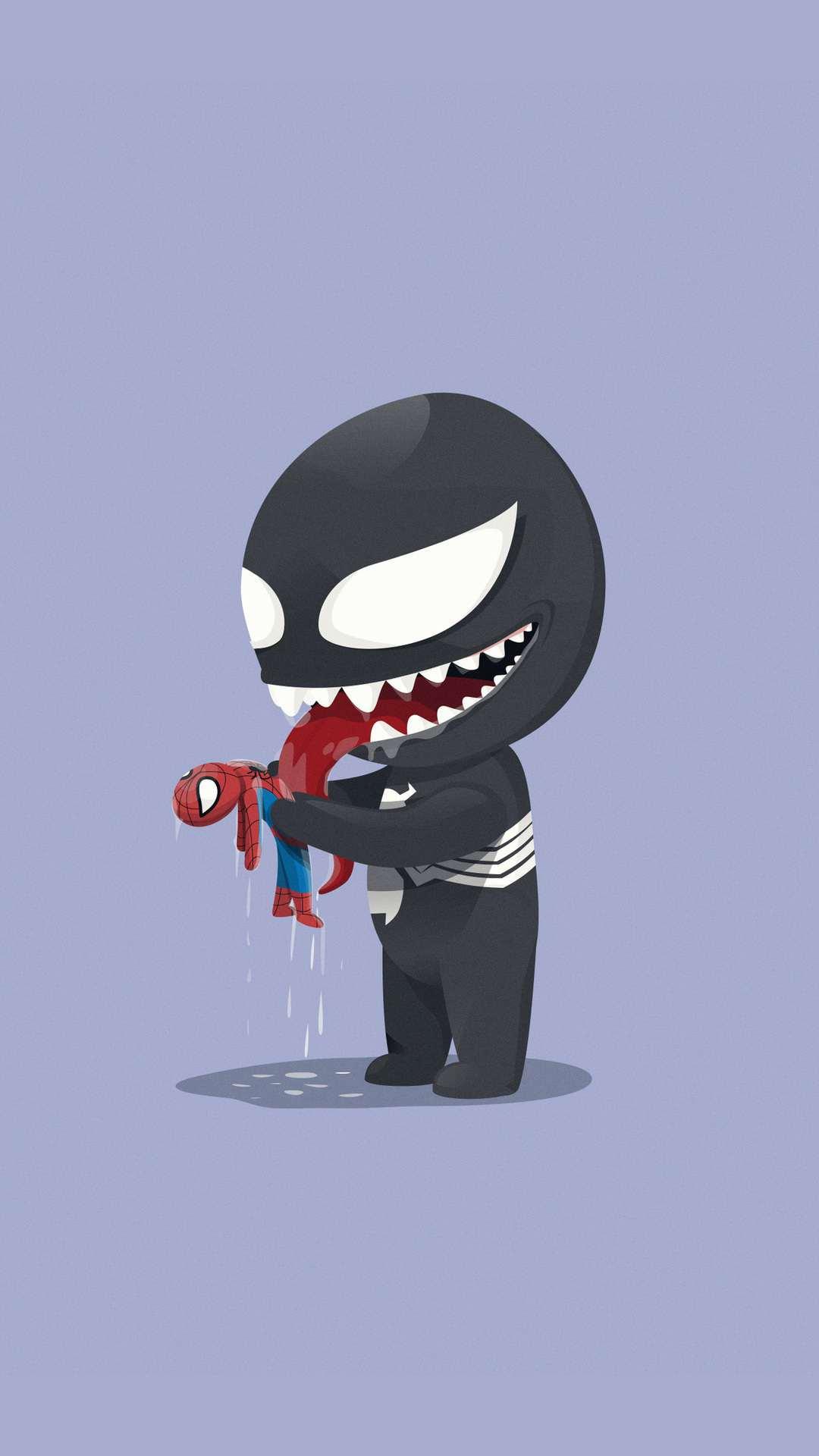 Spider Man With Venom iPhone Wallpaper