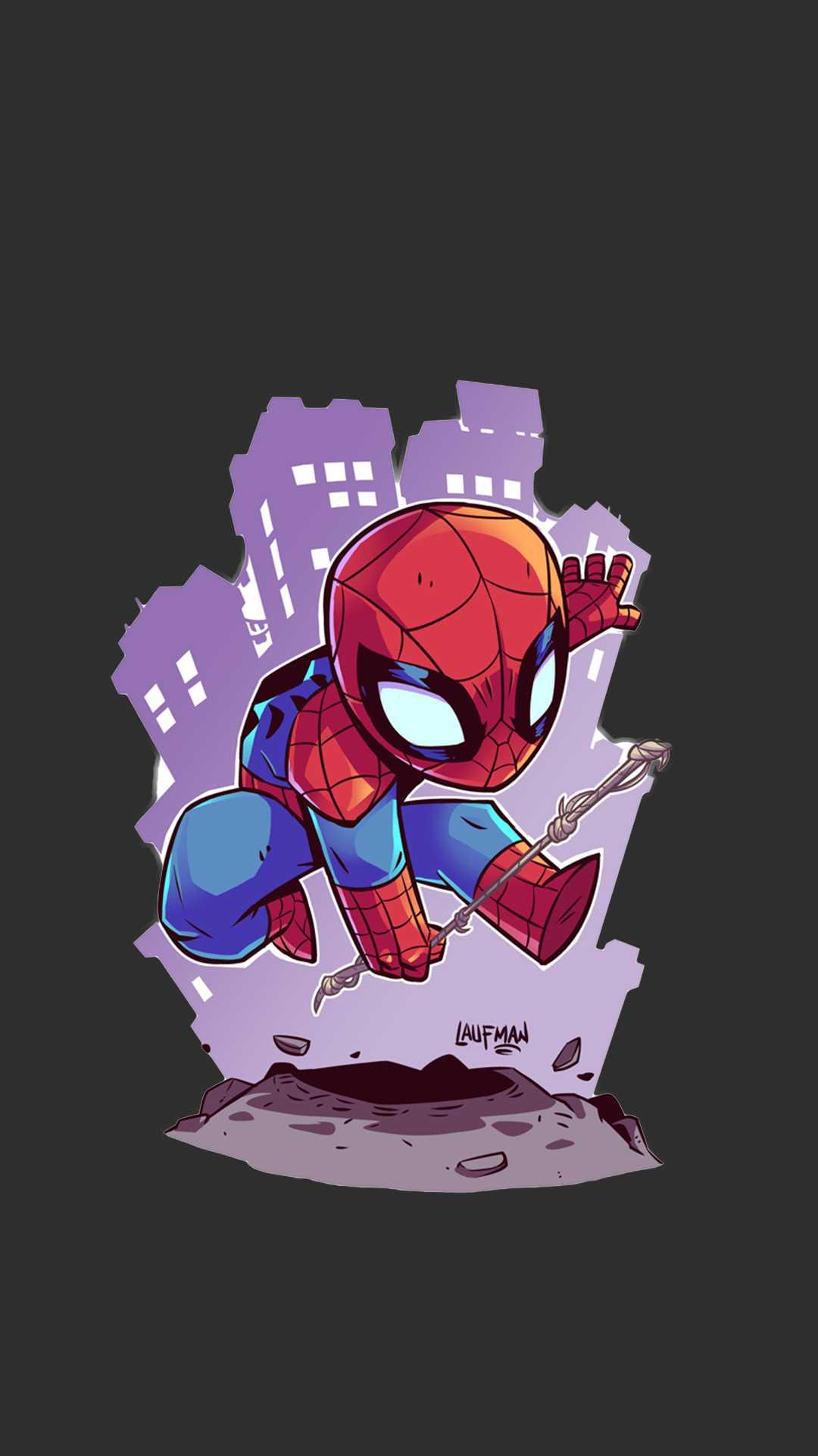 Spiderman Animated Art iPhone Wallpaper