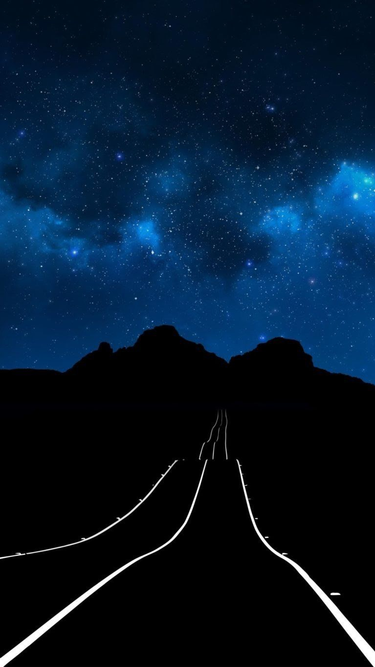 Starry Sky Night Road iPhone Wallpaper