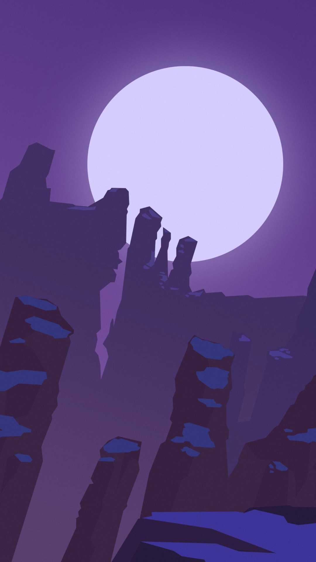Sun and Rocks Minimal iPhone Wallpaper
