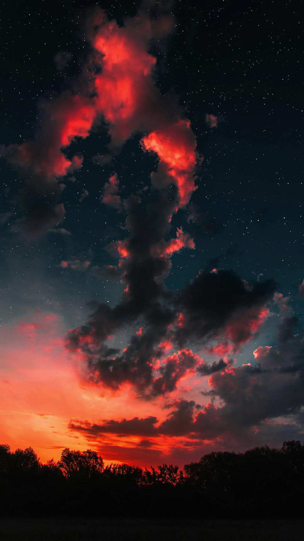 Sunset Clouds Space Stars iPhone Wallpaper