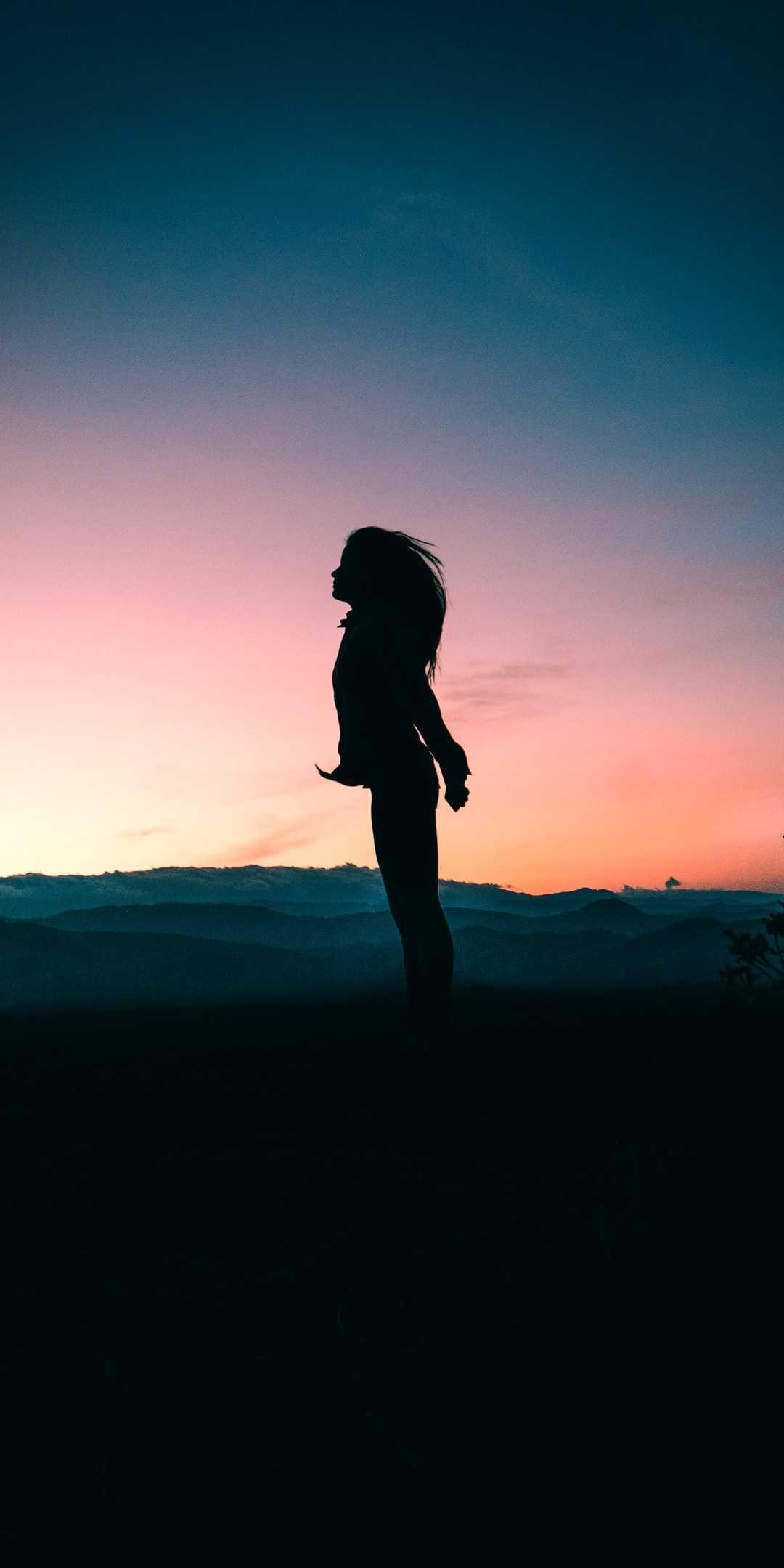 Sunset Shadow Girl iPhone Wallpaper