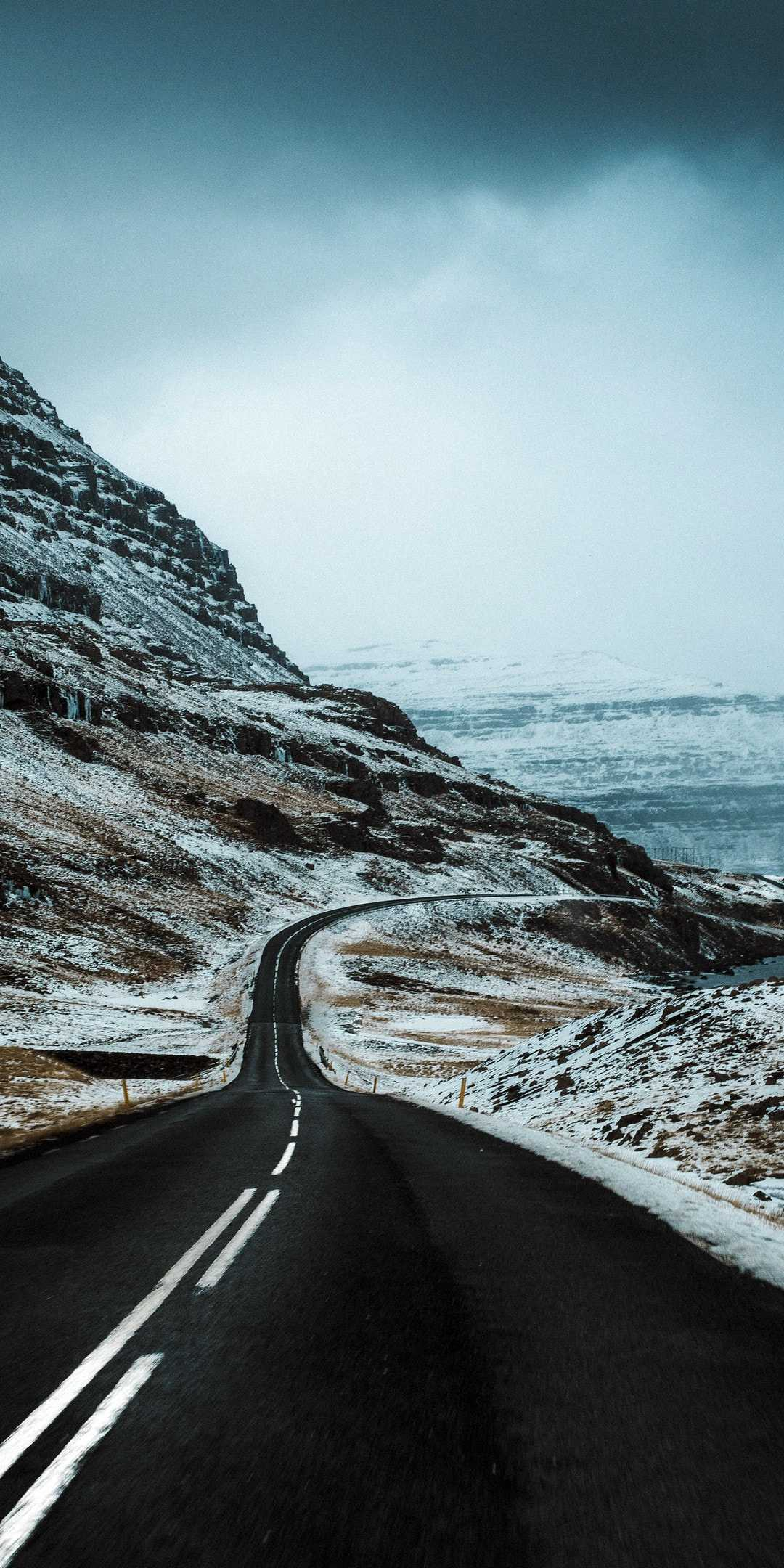 Winter Iceland Road iPhone Wallpaper