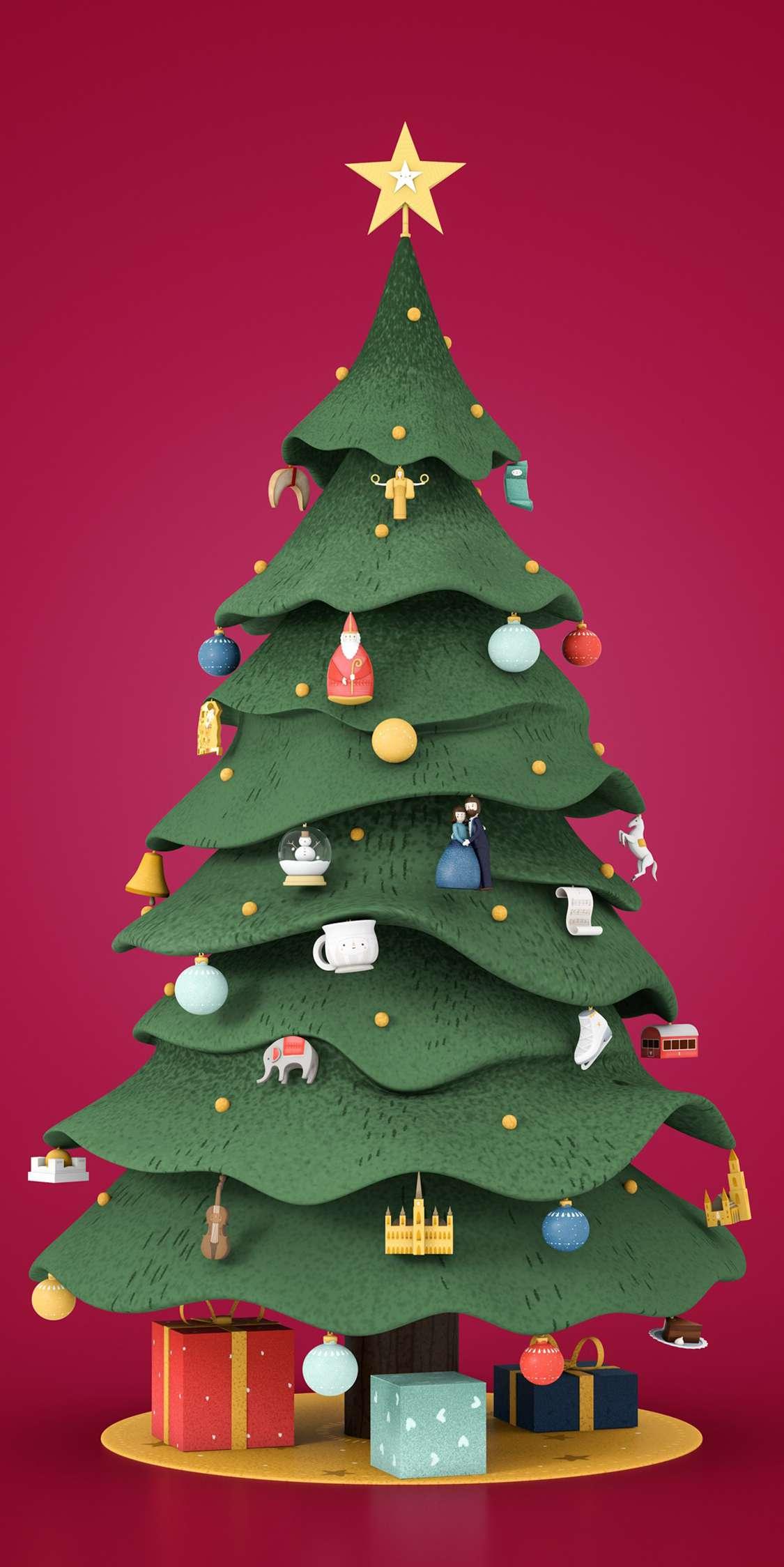 3D Christmas Tree iPhone Wallpaper