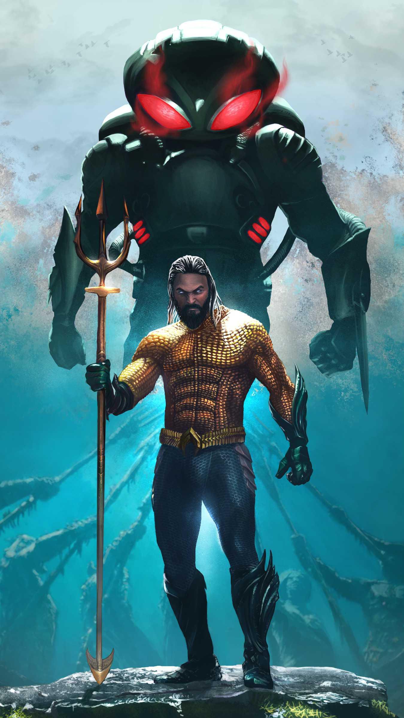 Aquaman and Black Manta iPhone Wallpaper