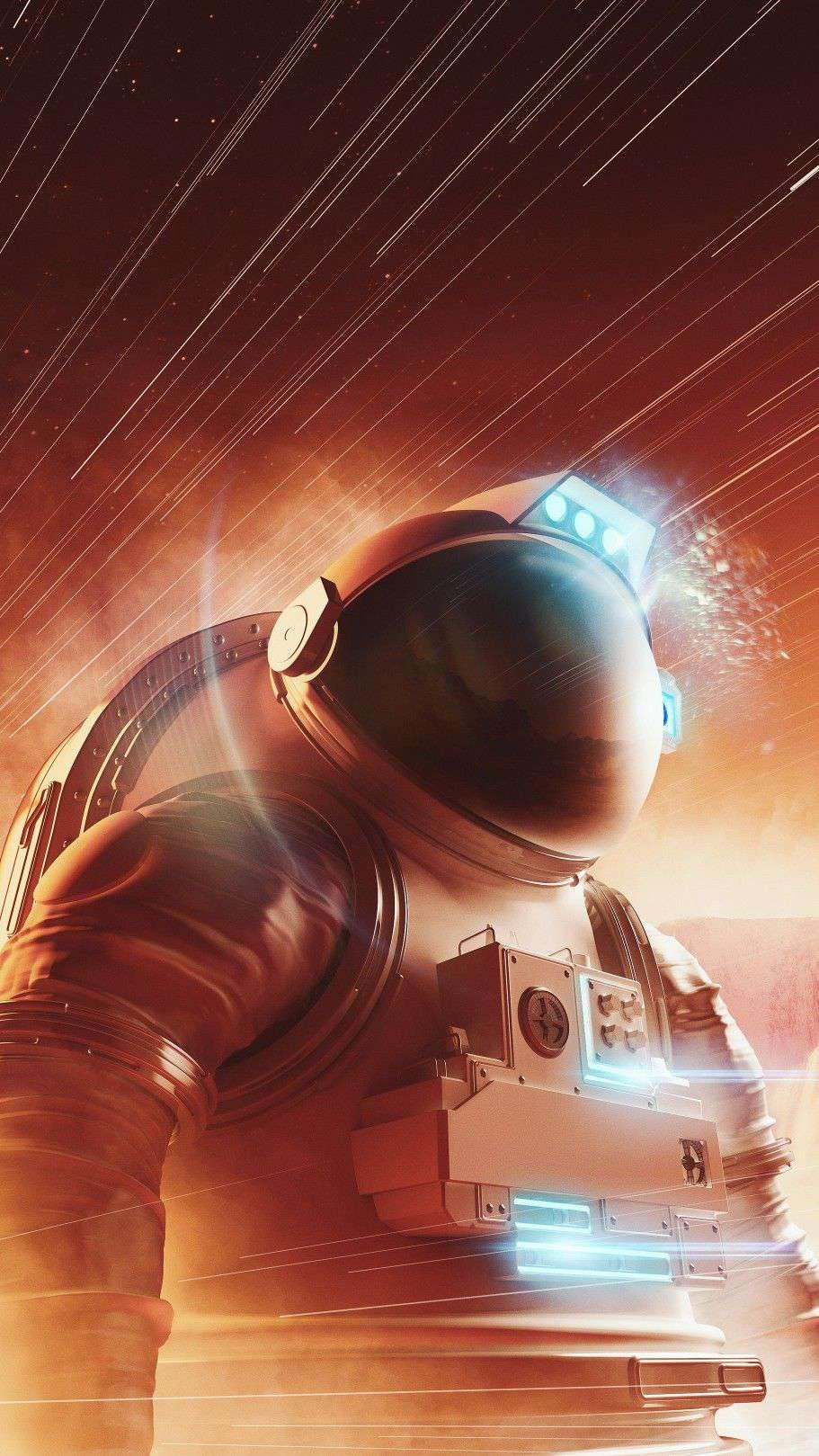 Astronaut Mars HD iPhone Wallpaper