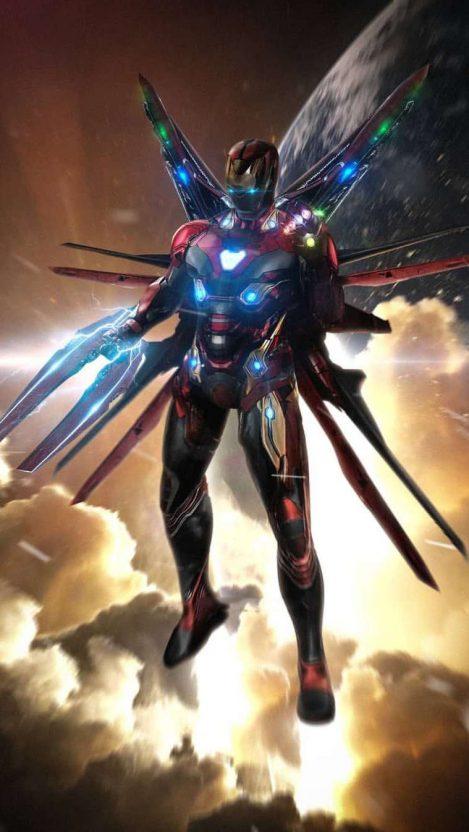 Avengers Endgame Iron Man Infinity Stones Armor iPhone Wallpaper