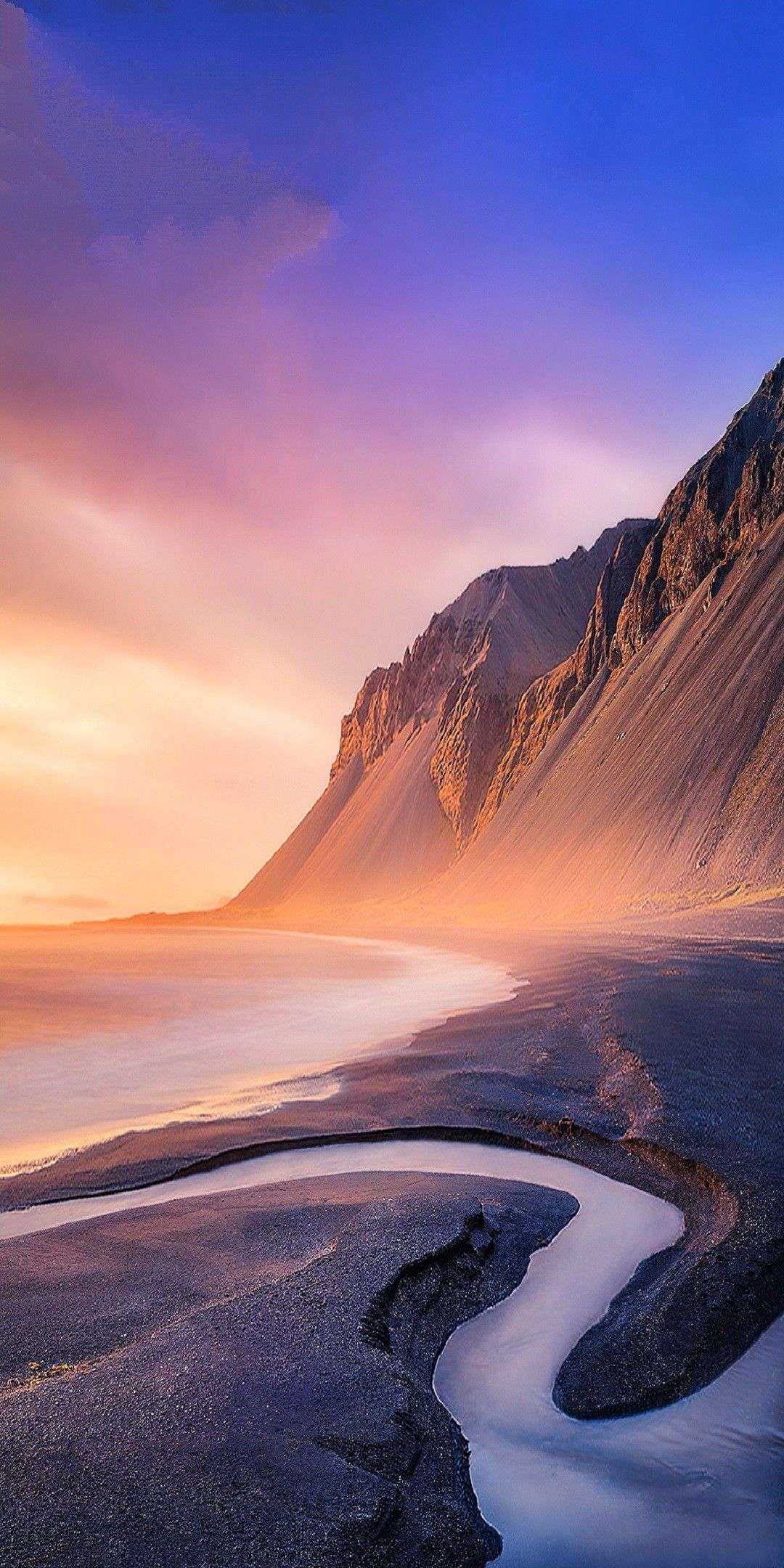 Beach Mountains Nature iPhone Wallpaper