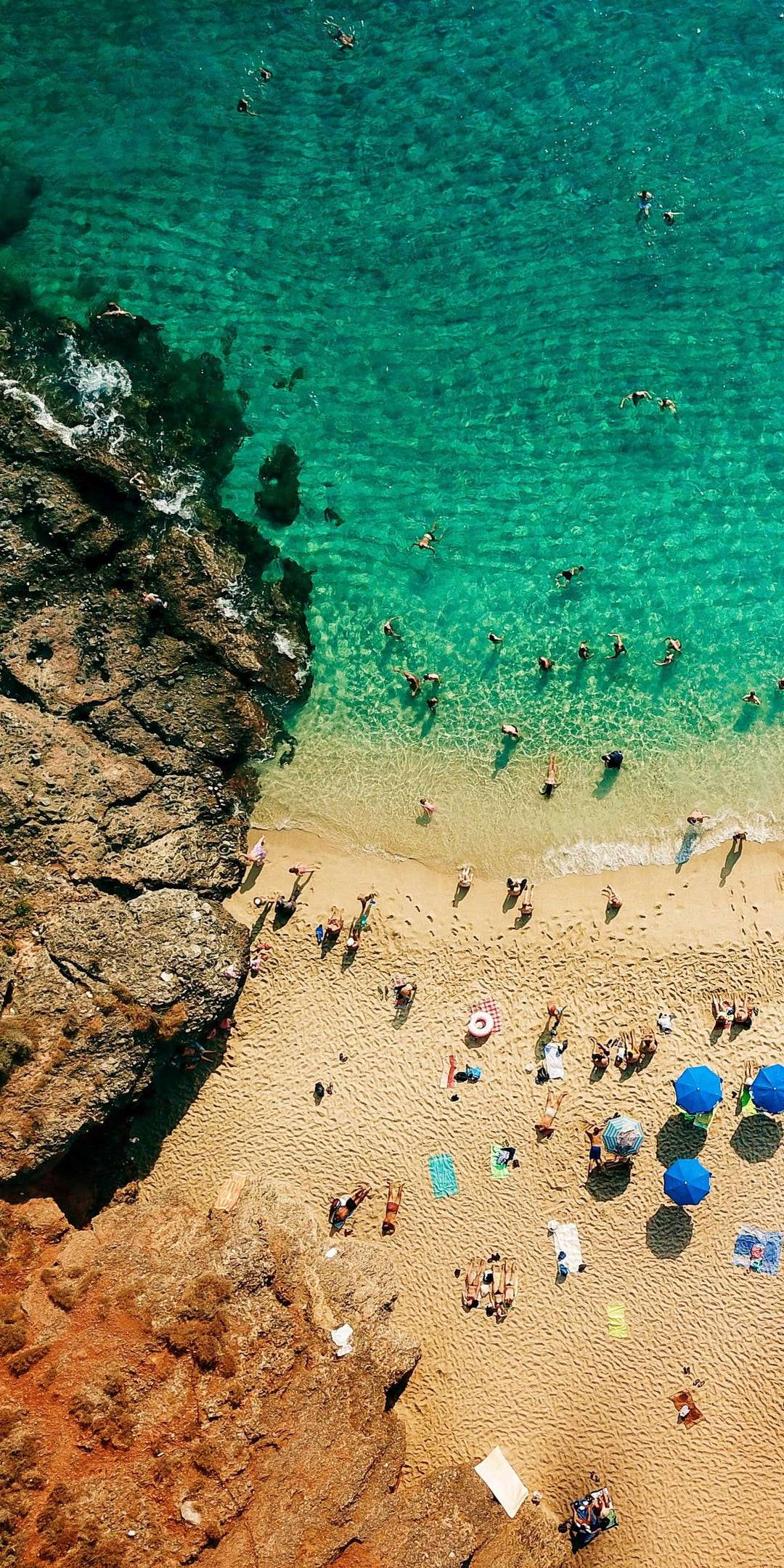 Beach People Aerial View iPhone Wallpaper