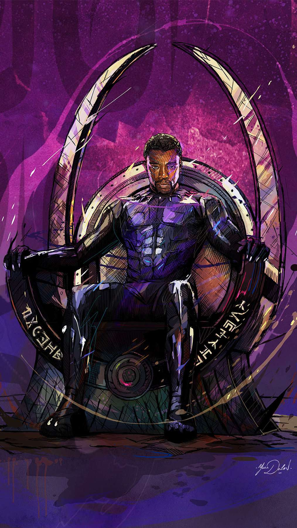Black Panther King of Wakanda Art iPhone Wallpaper