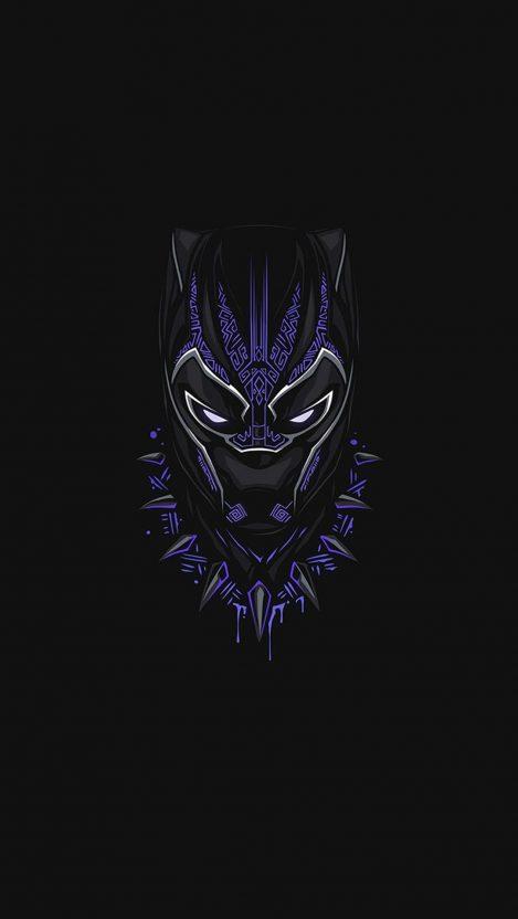 Black Panther Purple Minimal iPhone Wallpaper