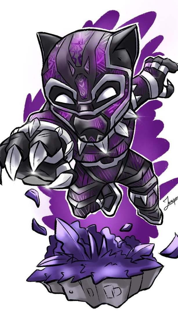 Black Panther Purple Suit Art iPhone Wallpaper