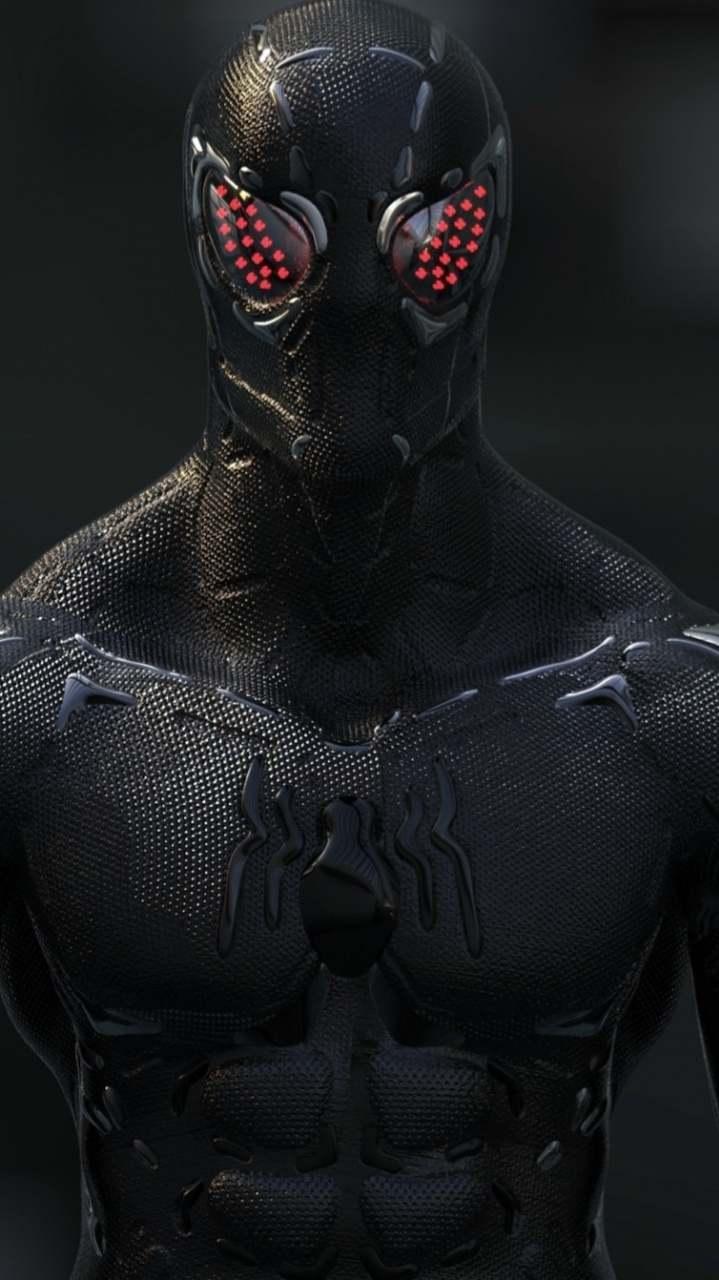 Black spider man artwork iPhone Wallpaper