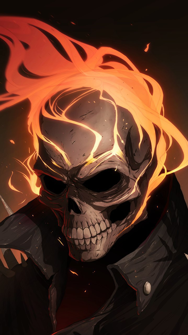Burning Skull iPhone Wallpaper