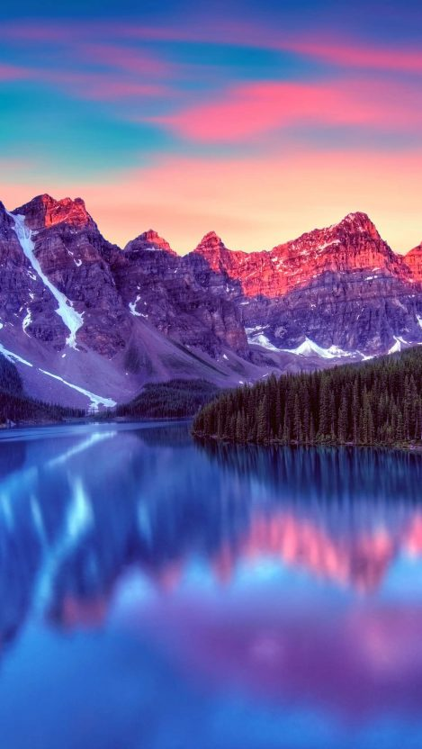 Canada Lake Blue Nature Snow Mountains iPhone Wallpaper