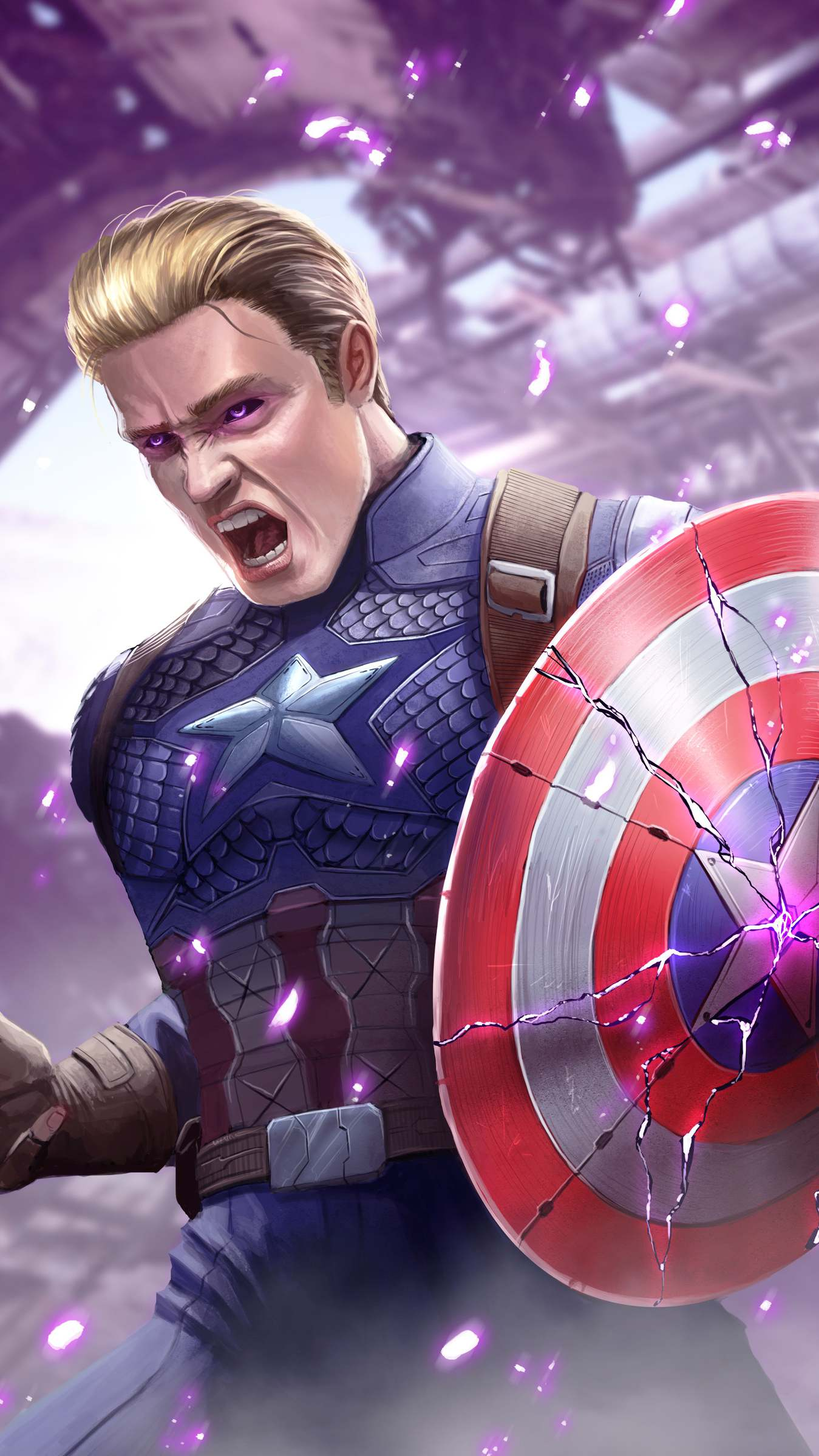 Captain America Broken Shield iPhone Wallpaper