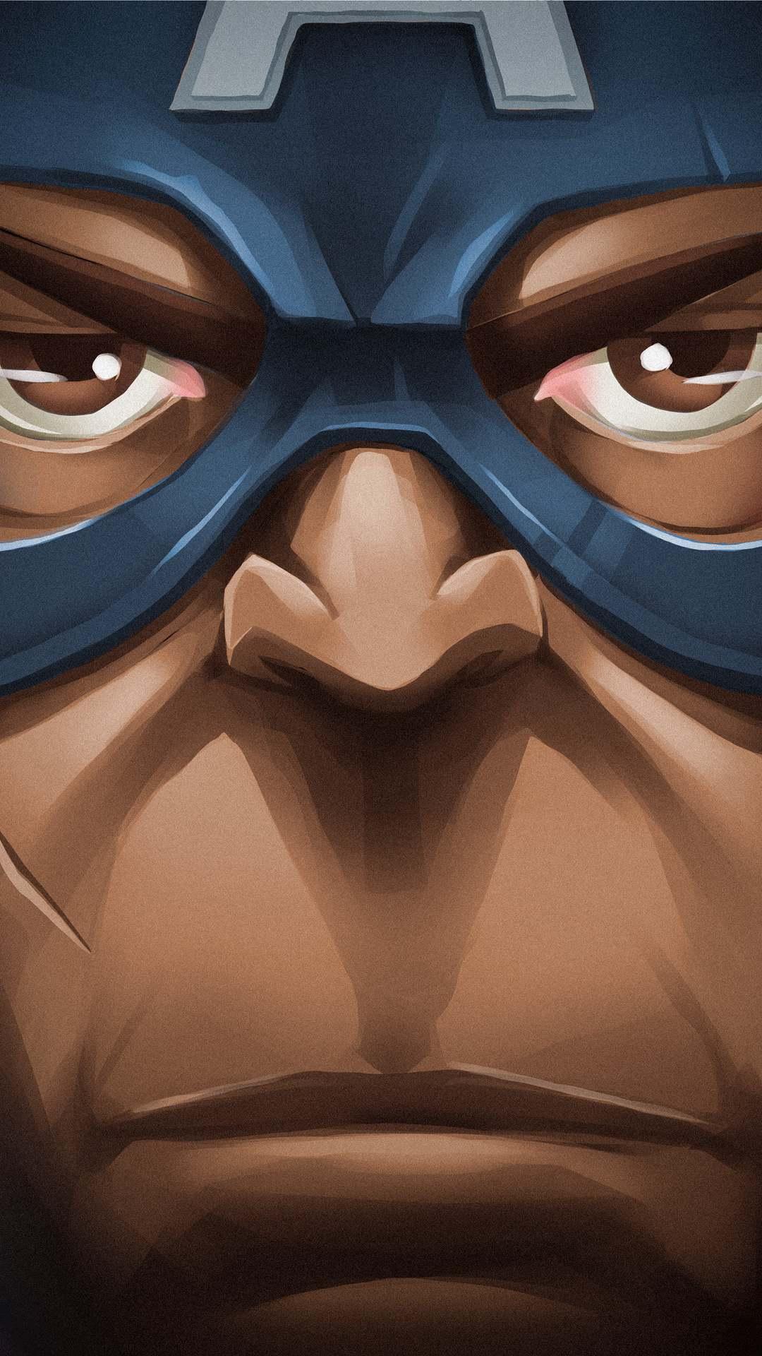 Captain America Face iPhone Wallpaper