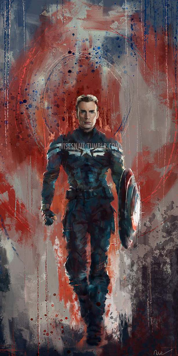 Captain America Paint Artwork iPhone Wallpaper