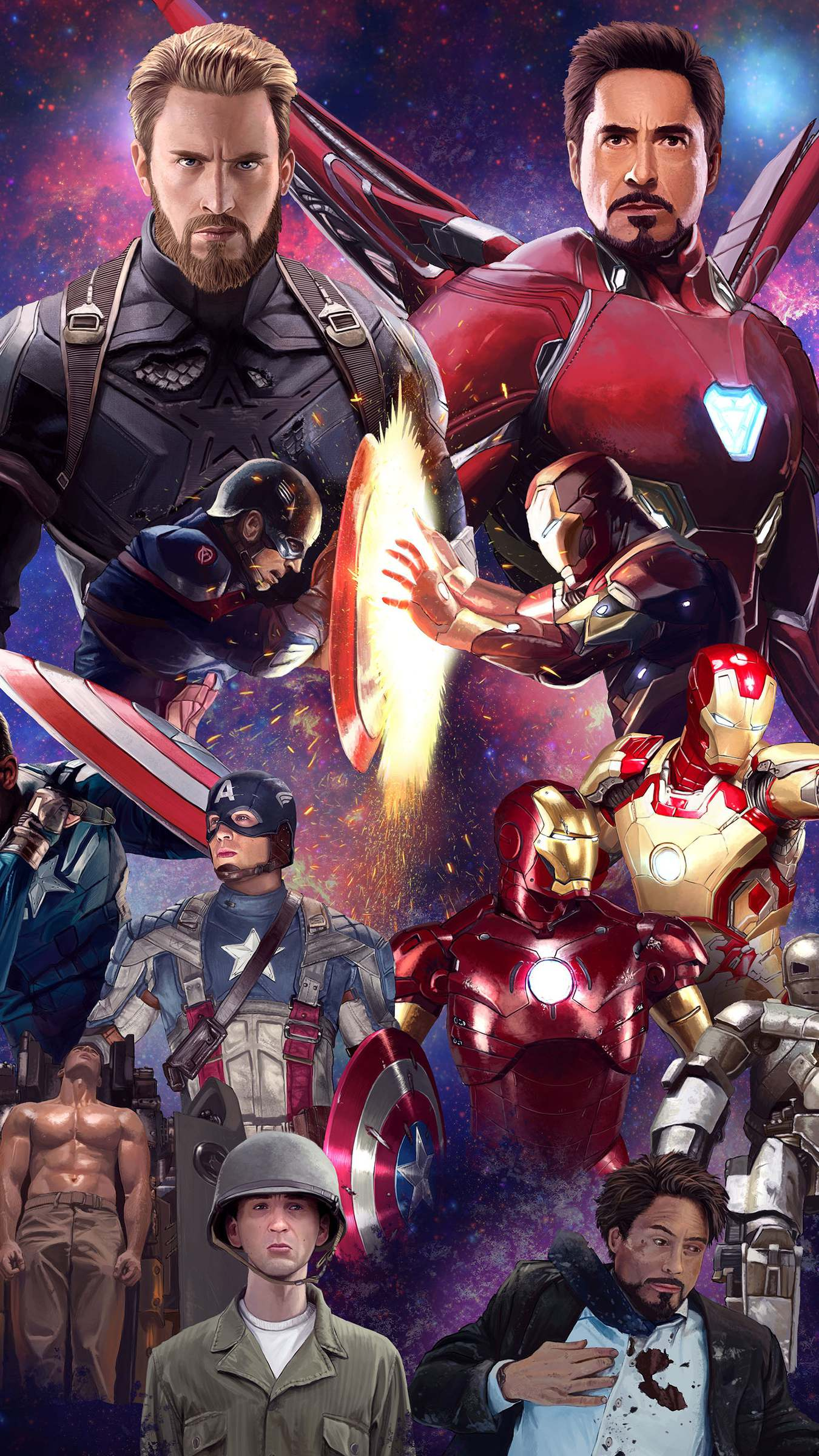 Captain America and Iron Man History iPhone Wallpaper