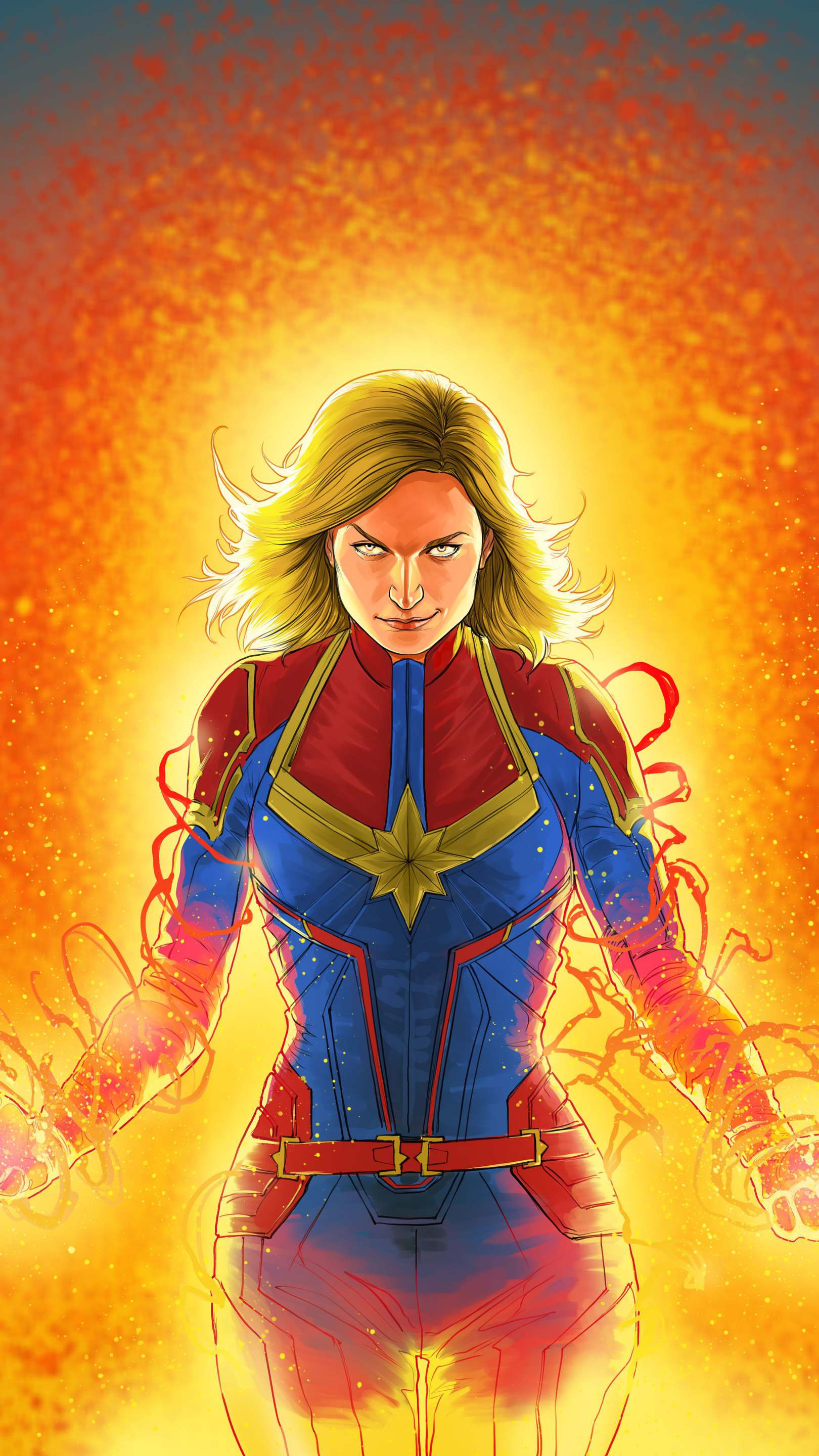 Captain Marvel Action Art iPhone Wallpaper