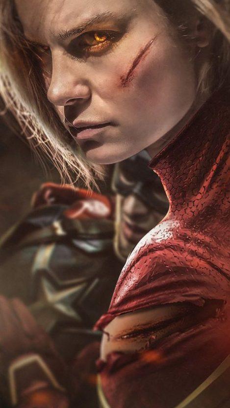 Captain Marvel Fight Iphone Wallpaper