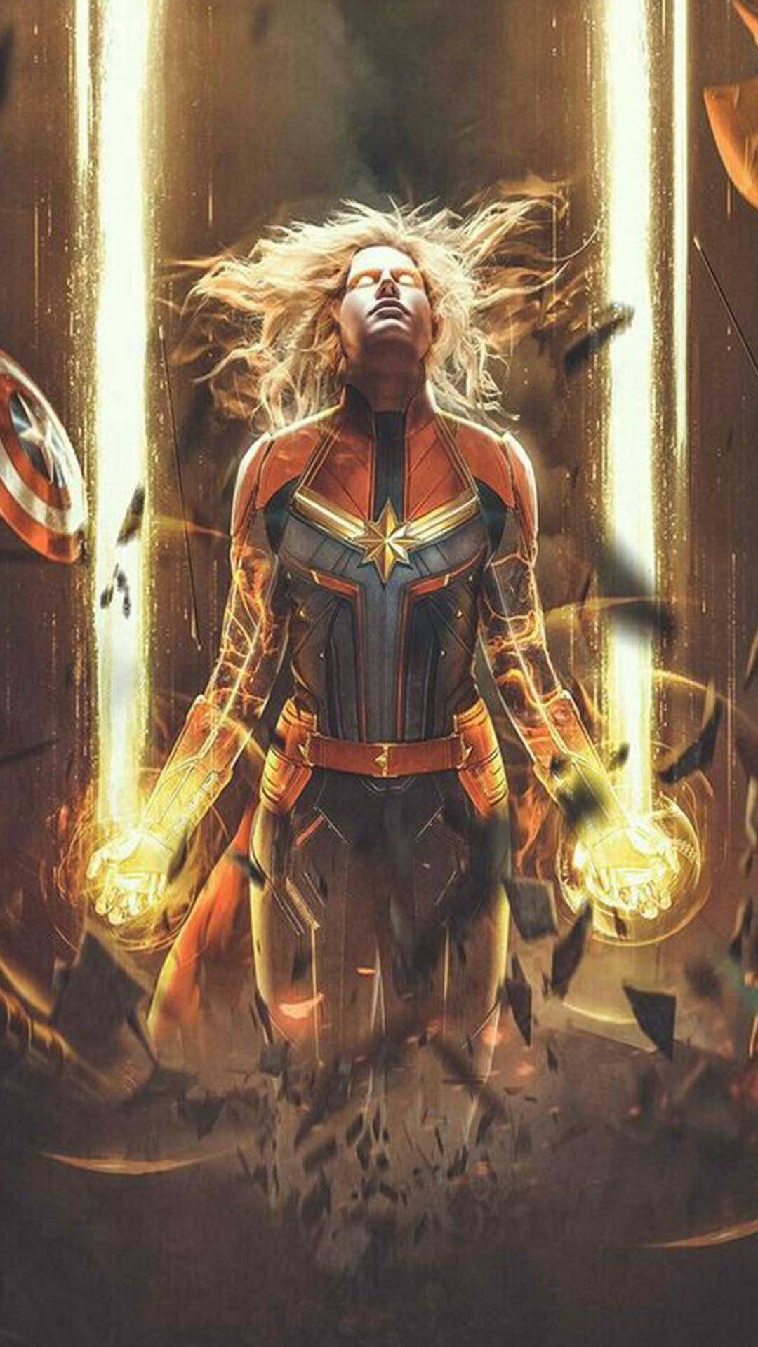 Captain Marvel Most Powerful Avenger iPhone Wallpaper