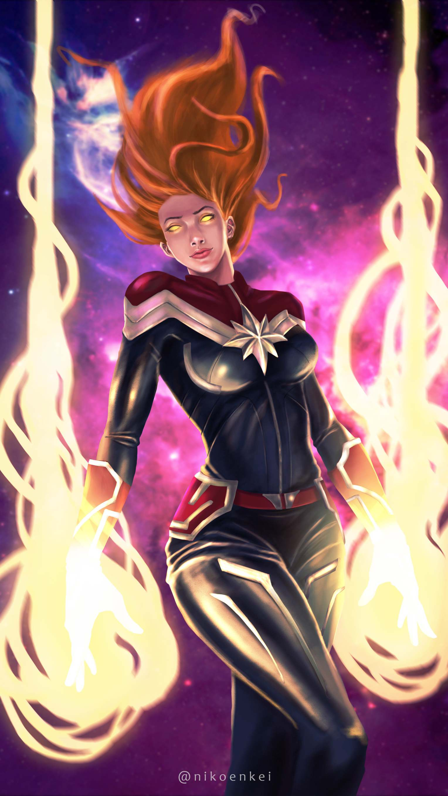 Captain Marvel Movie Action Art iPhone Wallpaper