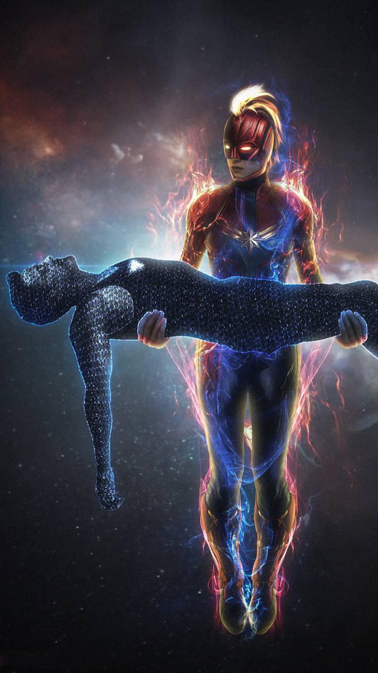 Captain Marvel Rescue Tony Stark iPhone Wallpaper