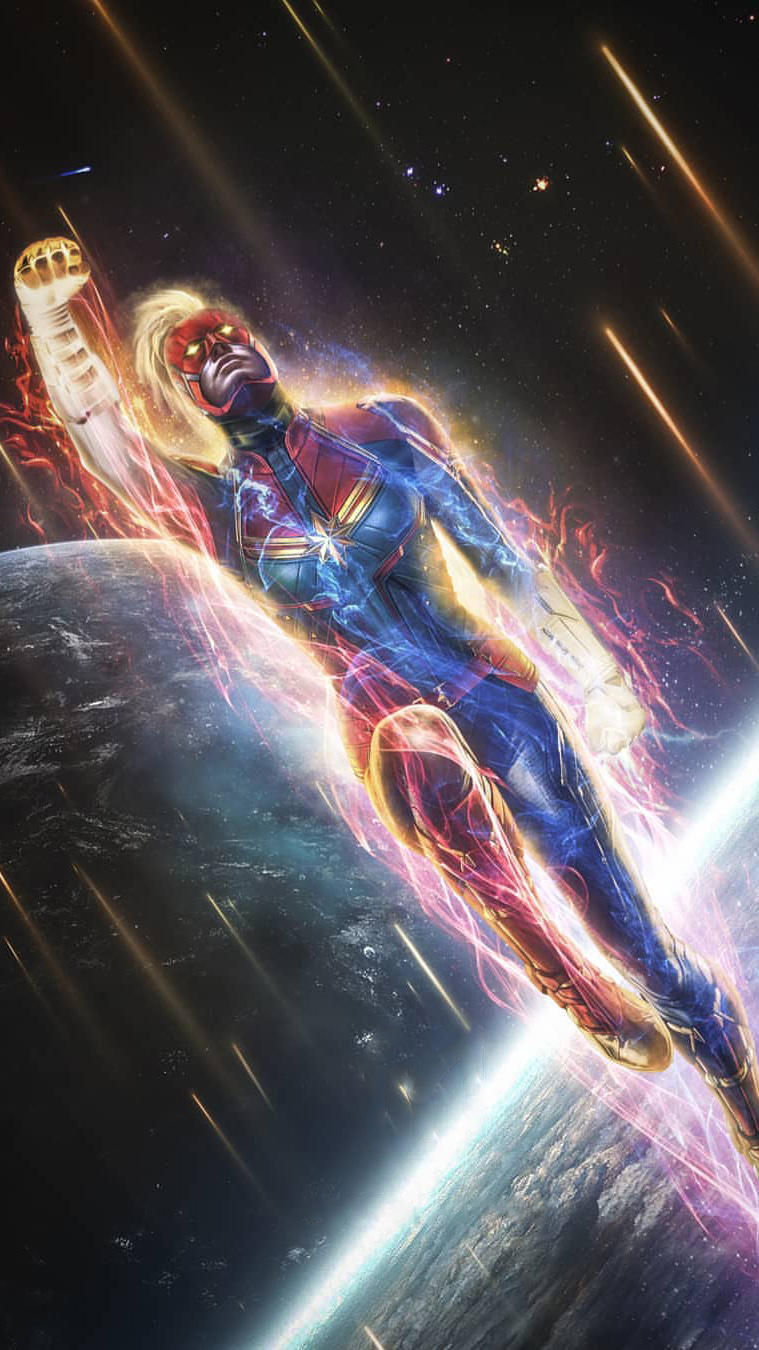 Captain Marvel Space Fight iPhone Wallpaper