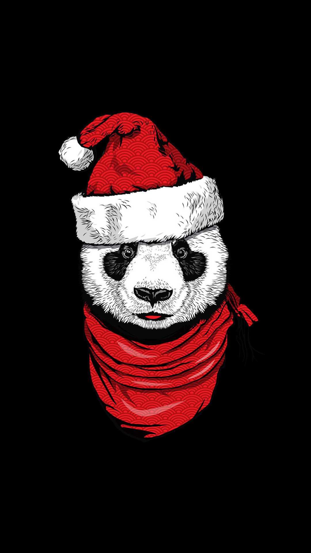 Christmas Panda iPhone Wallpaper