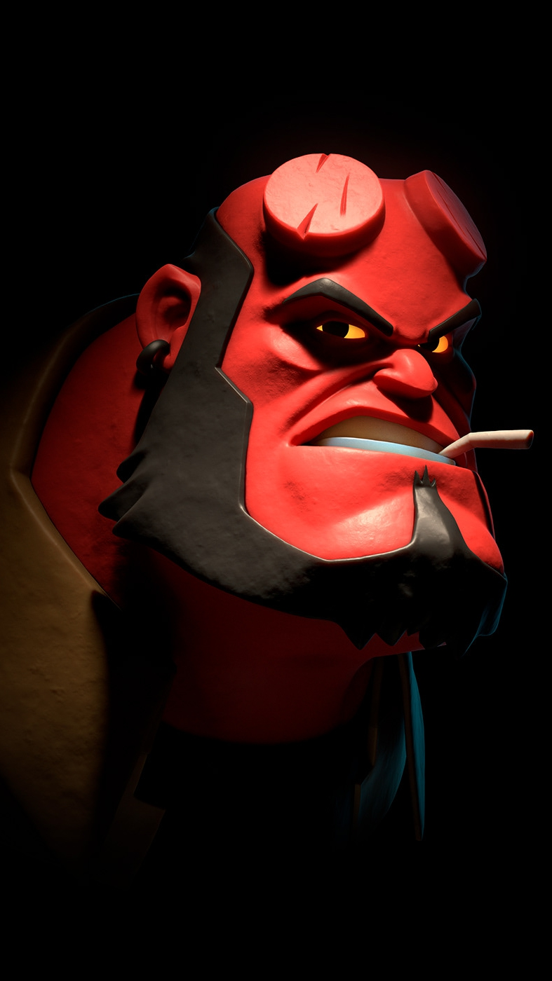 Hellboy Funny Face iPhone Wallpaper