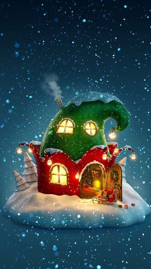 Hobbit Christmas House iPhone Wallpaper