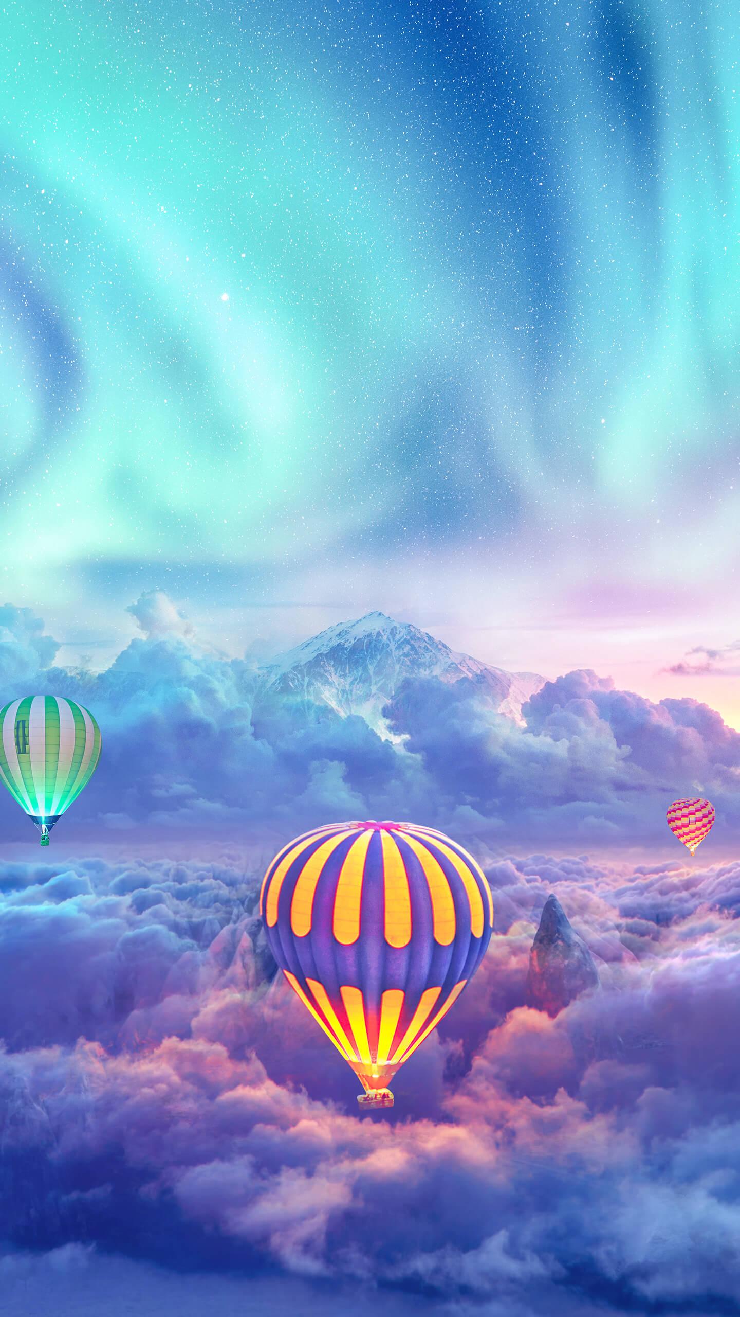Hot air balloon in Alps Sky Aurora iPhone Wallpaper
