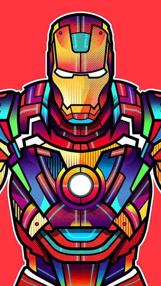 Iron Man Colorful Art iPhone Wallpaper