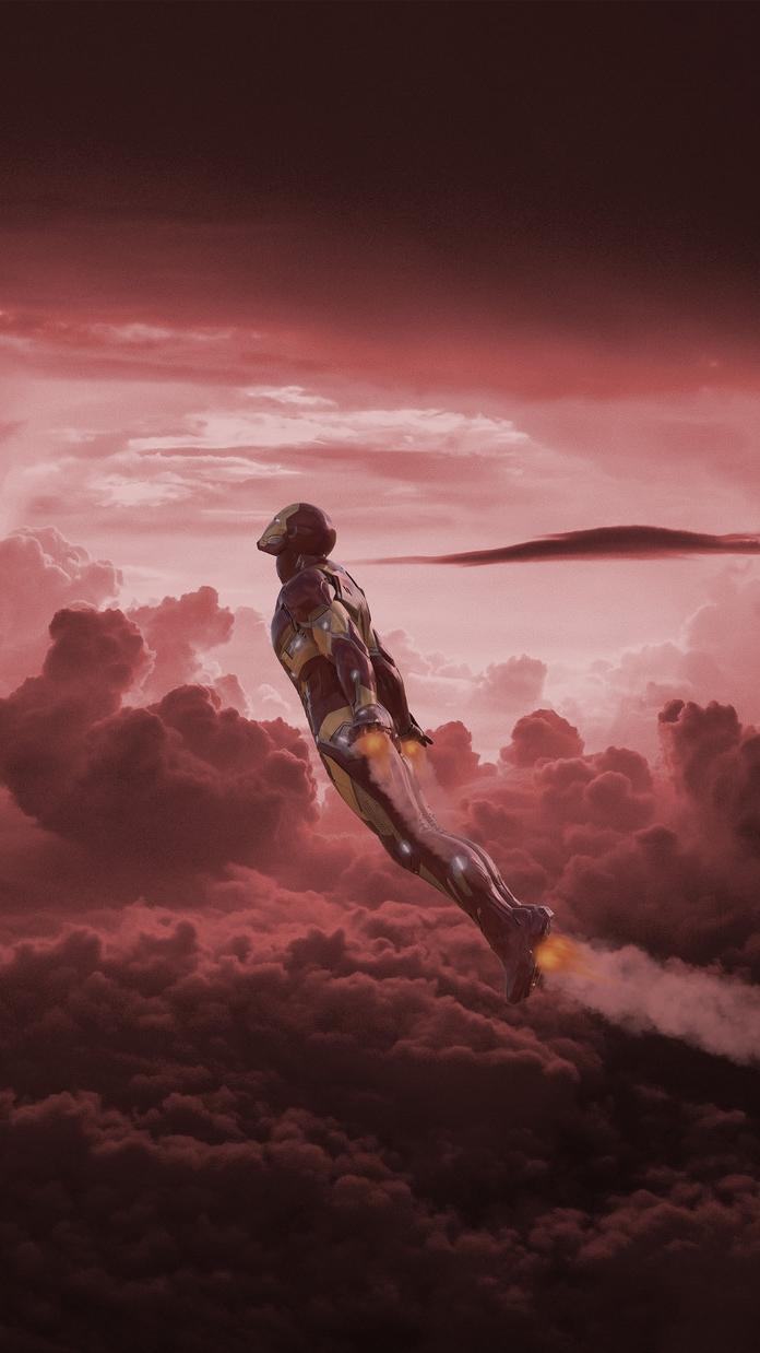 Iron Man Fly over Titan iPhone Wallpaper