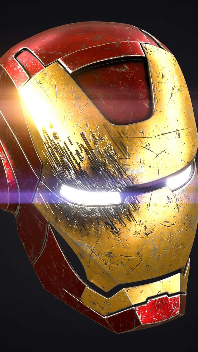 Iron Man Helmet Damaged iPhone Wallpaper