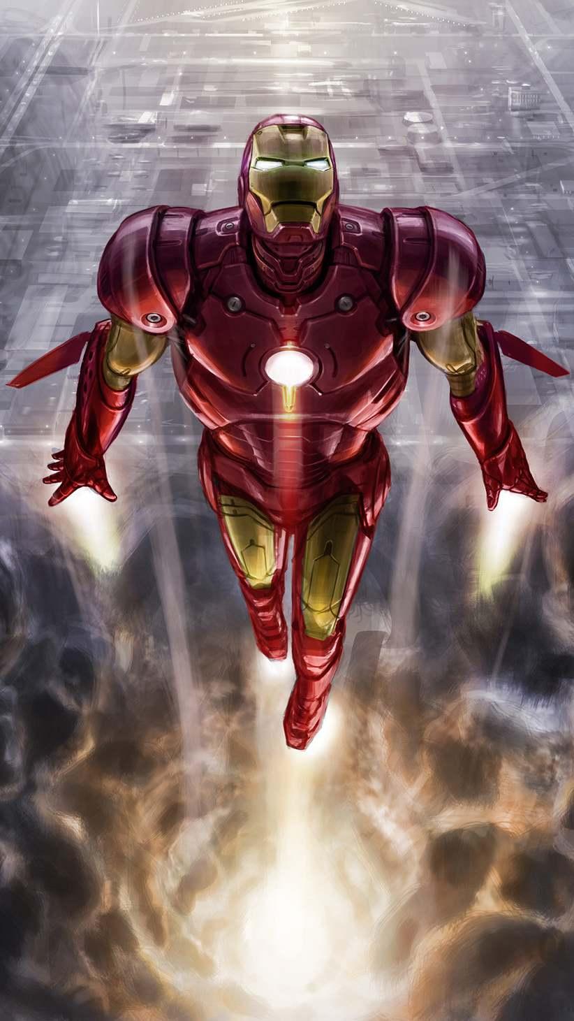 Iron Man Vertical Fly iPhone Wallpaper