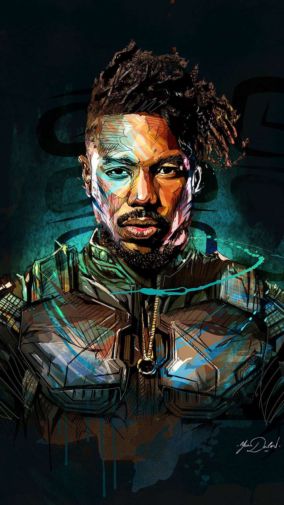 Killmonger Art Black Panther iPhone Wallpaper