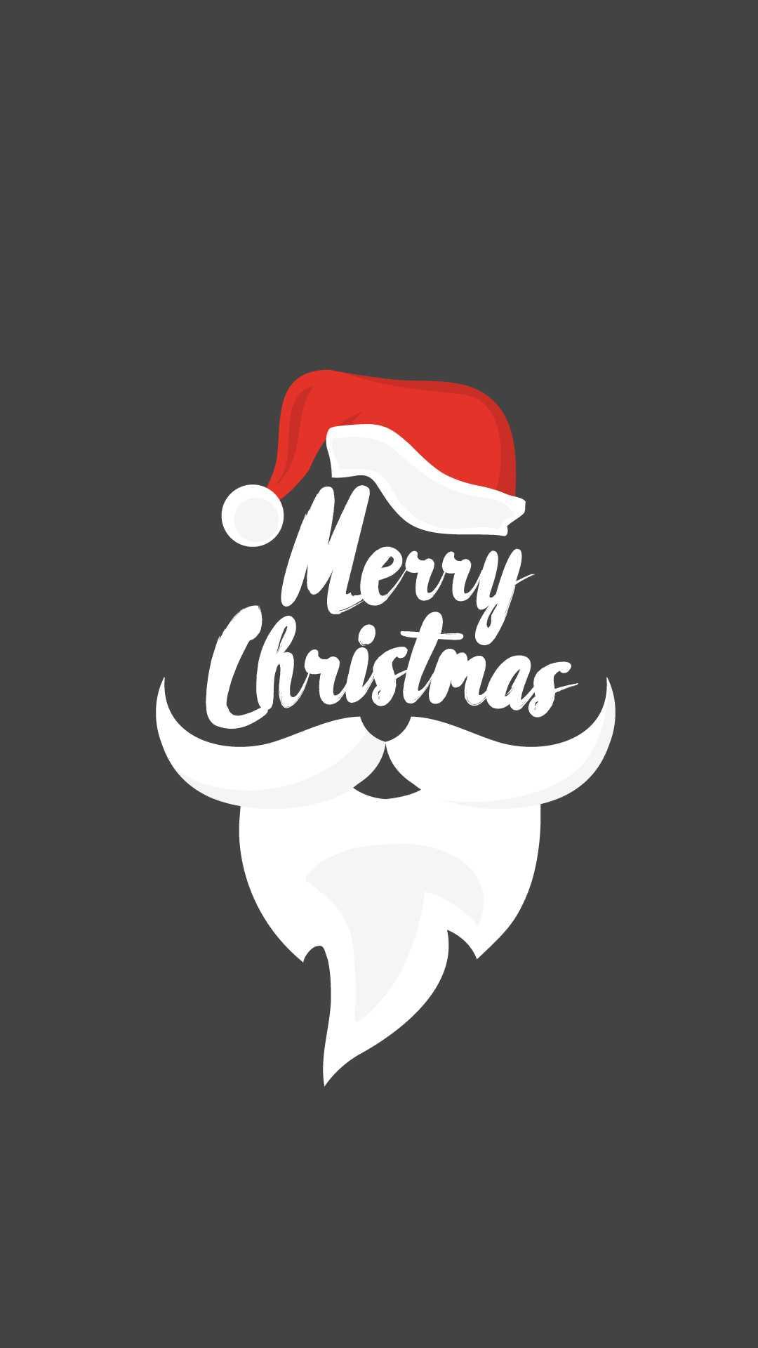 Merry Christmas Santa Beard iPhone Wallpaper