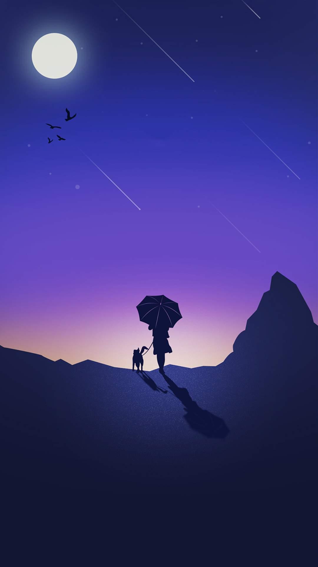 Minimal Meteor Sky iPhone Wallpaper