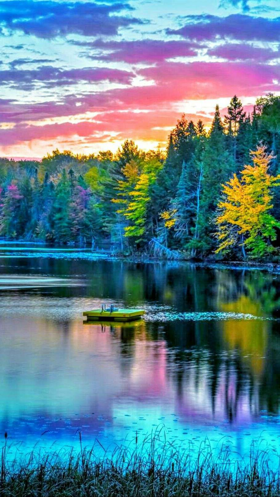 Nature Scenery Lake Colourful iPhone Wallpaper