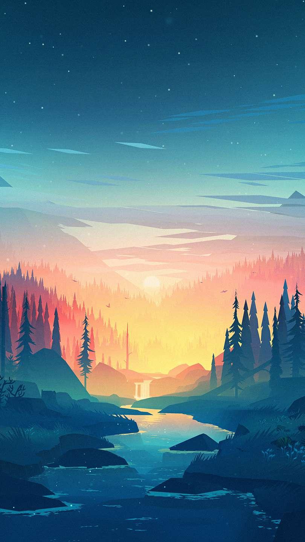 Nature Sunset Artwork iPhone Wallpaper