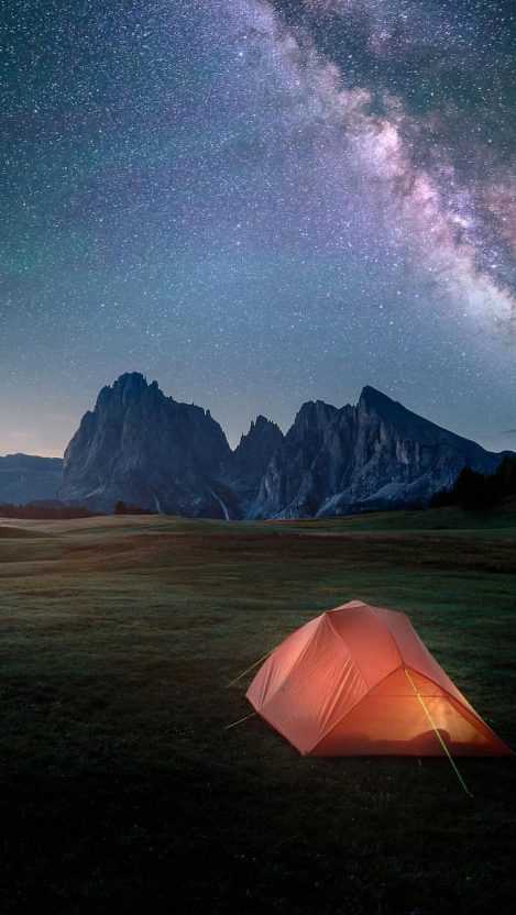 Night Camping in Nature iPhone Wallpaper