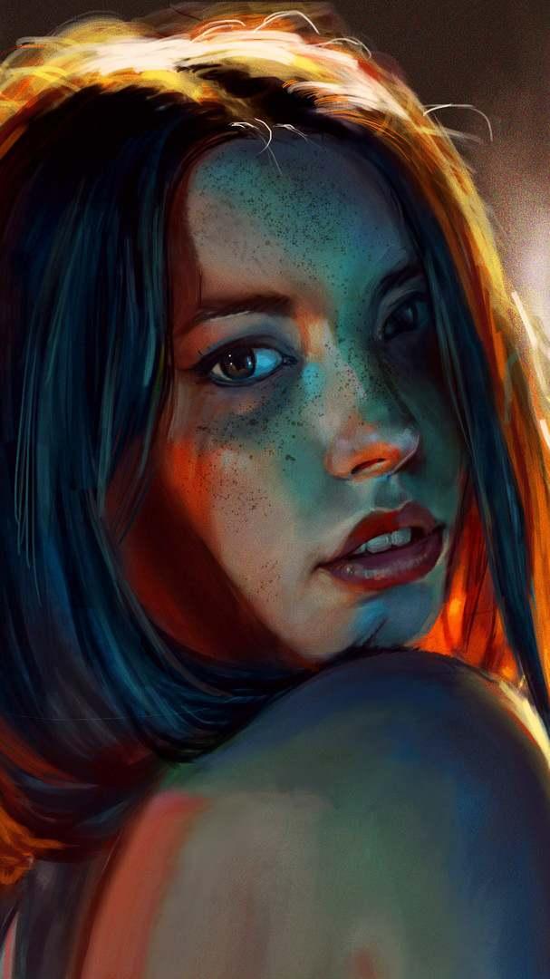 Night Girl Portrait iPhone Wallpaper