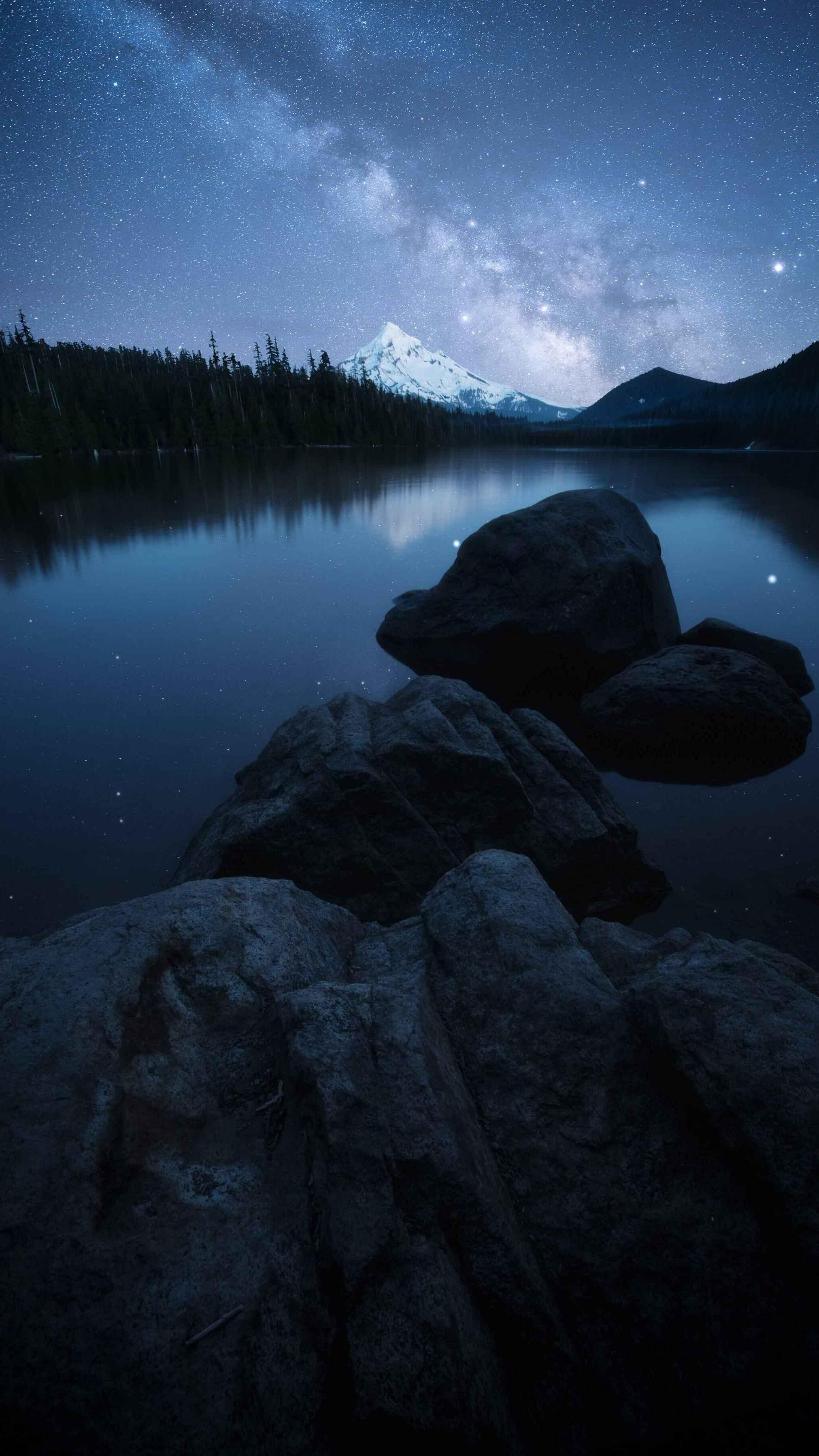 Night Lake Nature iPhone Wallpaper