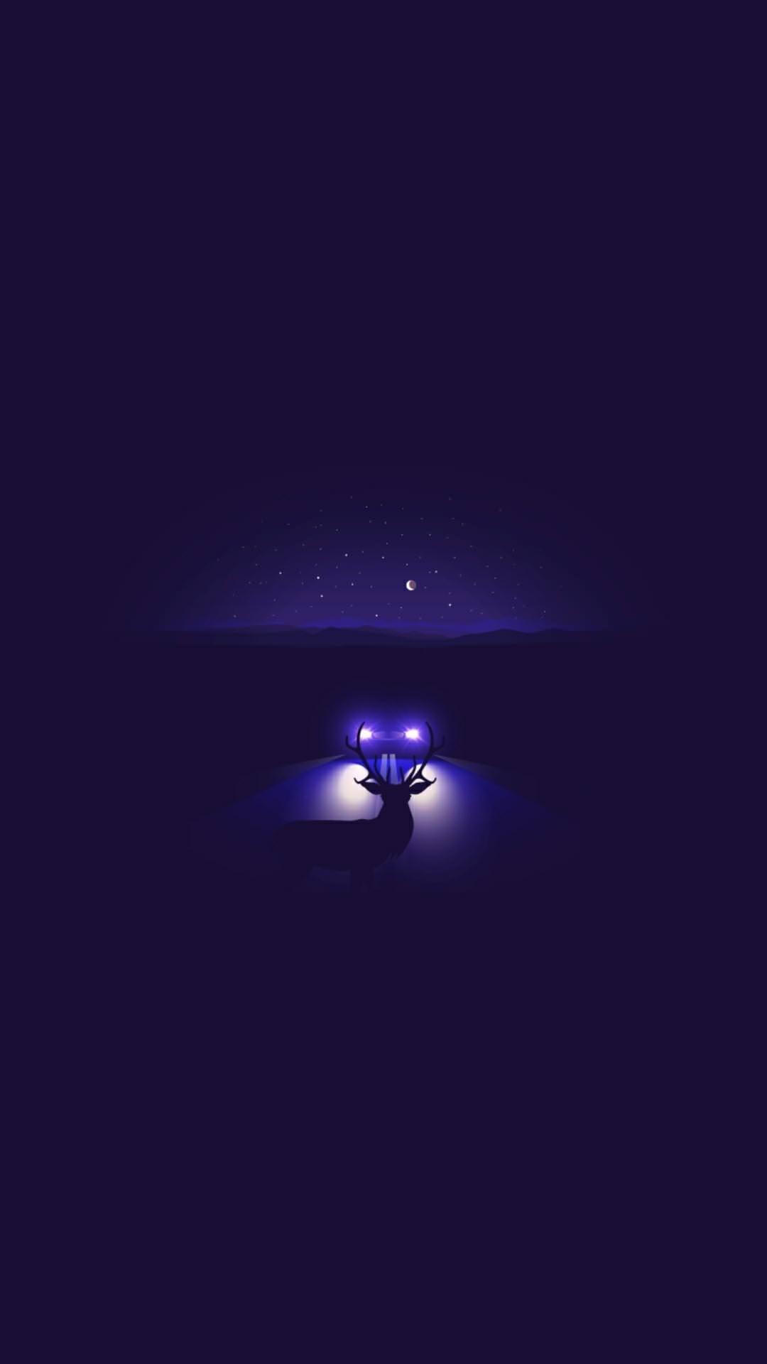 Night Road Deer iPhone Wallpaper